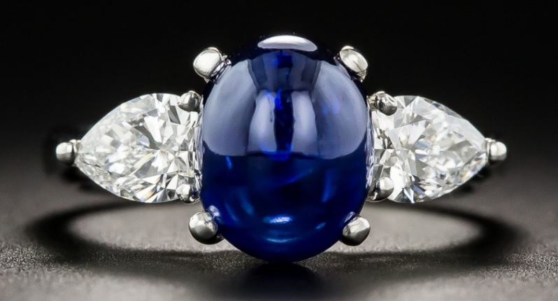 3.50 Carat Cabochon Sapphire and Diamond Ring