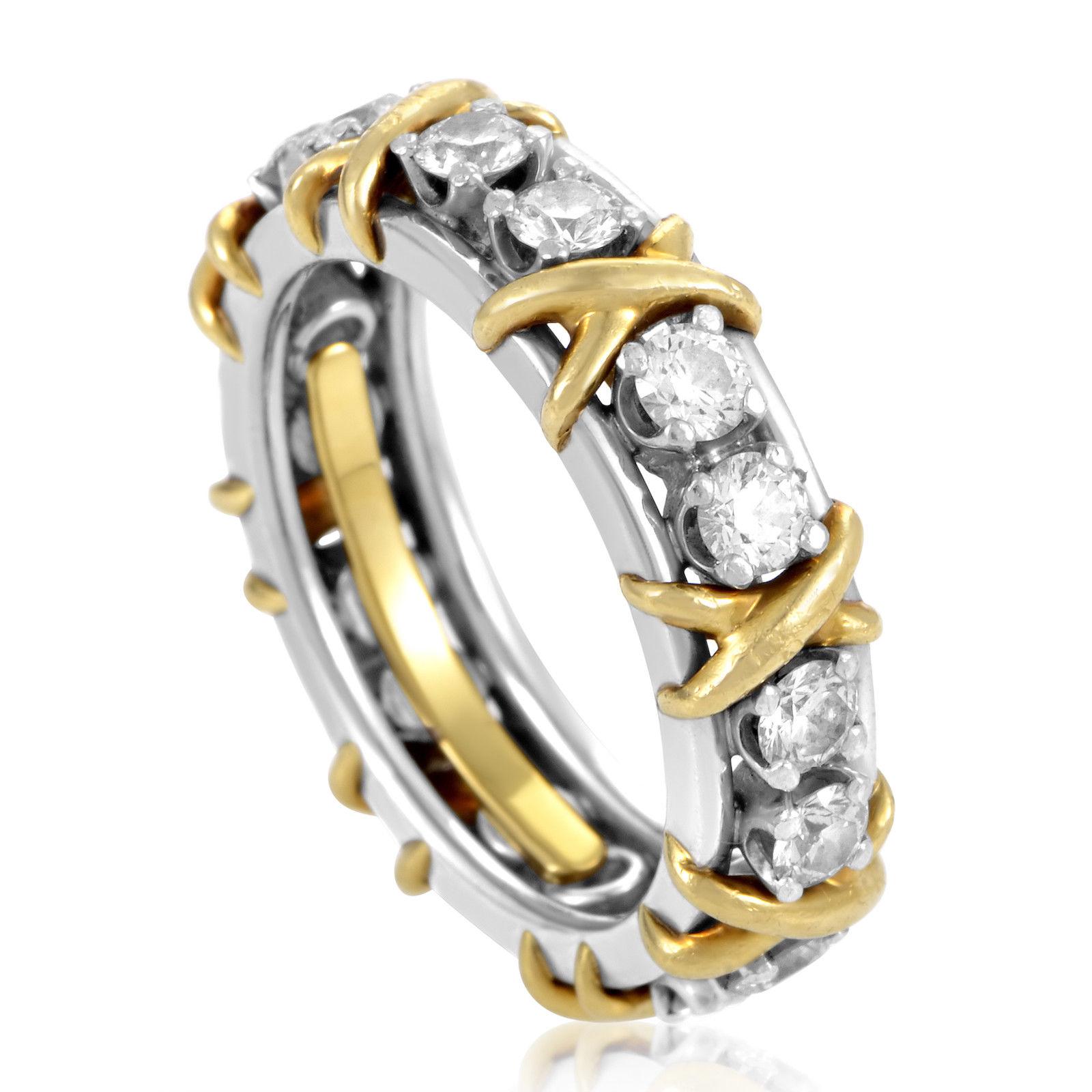 Tiffany & Co. Schlumberger Platinum & 18K Yellow Gold Diamond Eternity Band Ring.