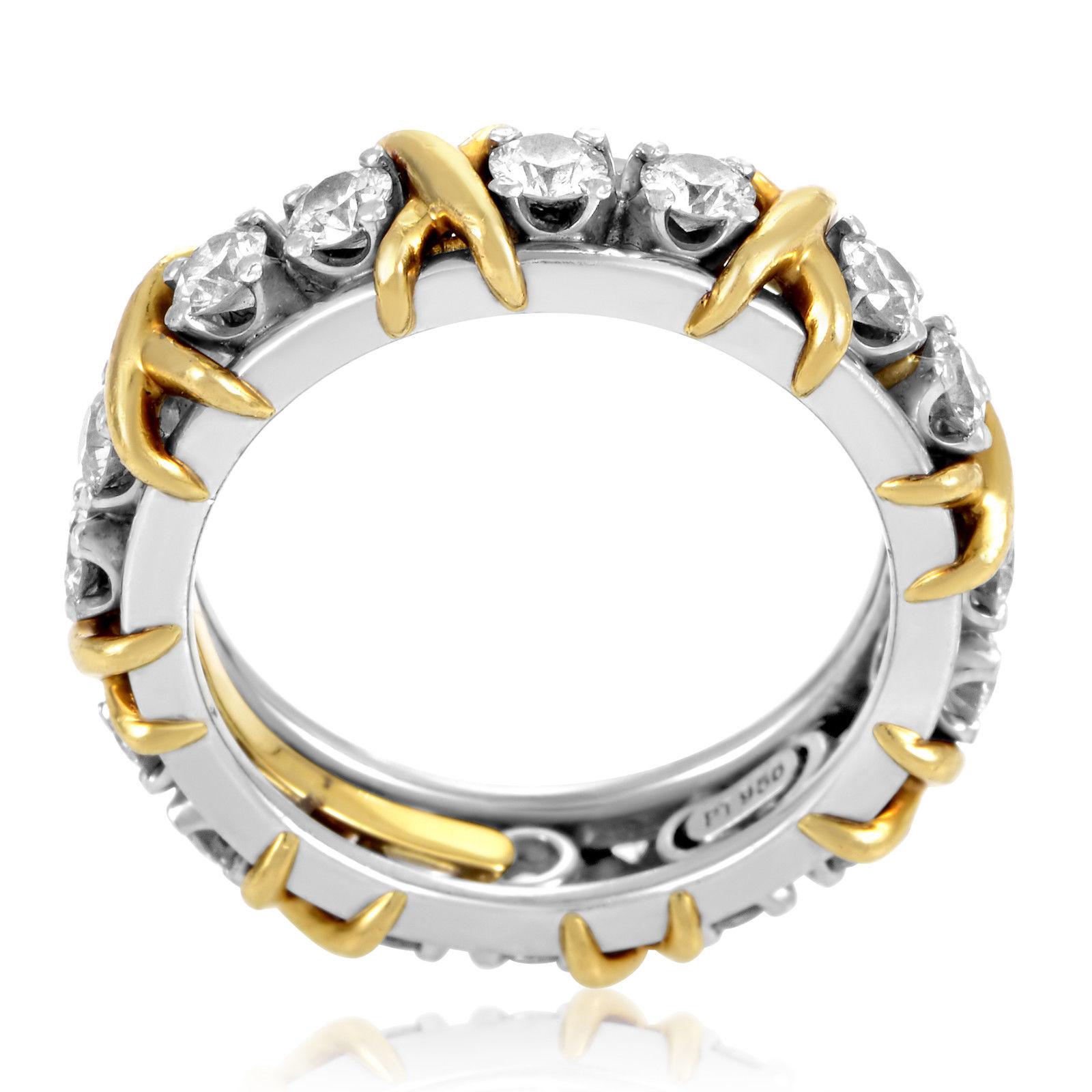 Tiffany & Co. Schlumberger Platinum & 18K Yellow Gold Diamond Eternity Band Ring