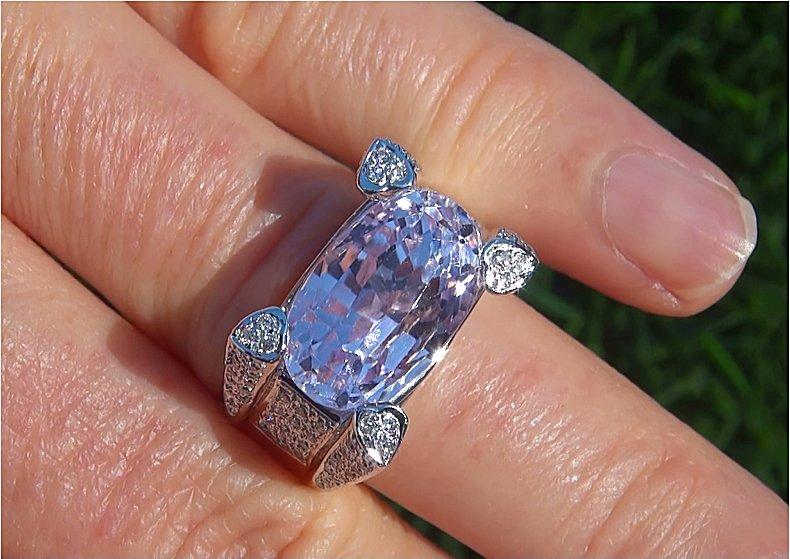 GIA Certified 12.47 ct Natural Pink Kunzite Diamond 14k White Gold Estate Ring