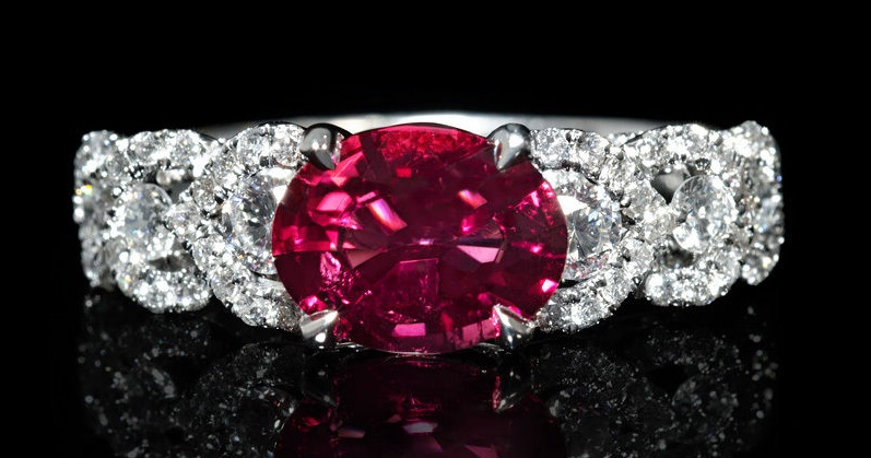 Diamond and Rubellite 18k White Gold Ring