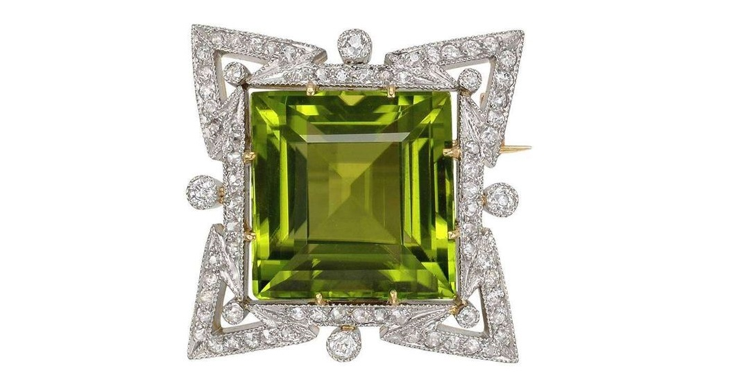 Marcus & Co. Peridot Diamond Star Motif Pin