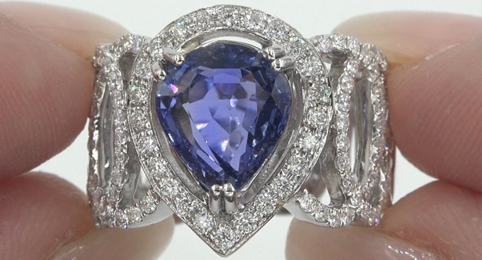 GIA 5.30 ct UNHEATED Natural VVS Blue Sapphire Diamond 14k White Gold Ring
