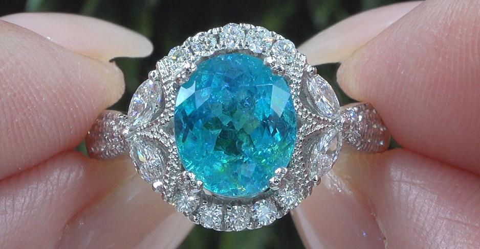 A Gorgeous GIA Certified 3.84 ct Natural Paraiba Tourmaline & Diamond PLATINUM Estate Ring