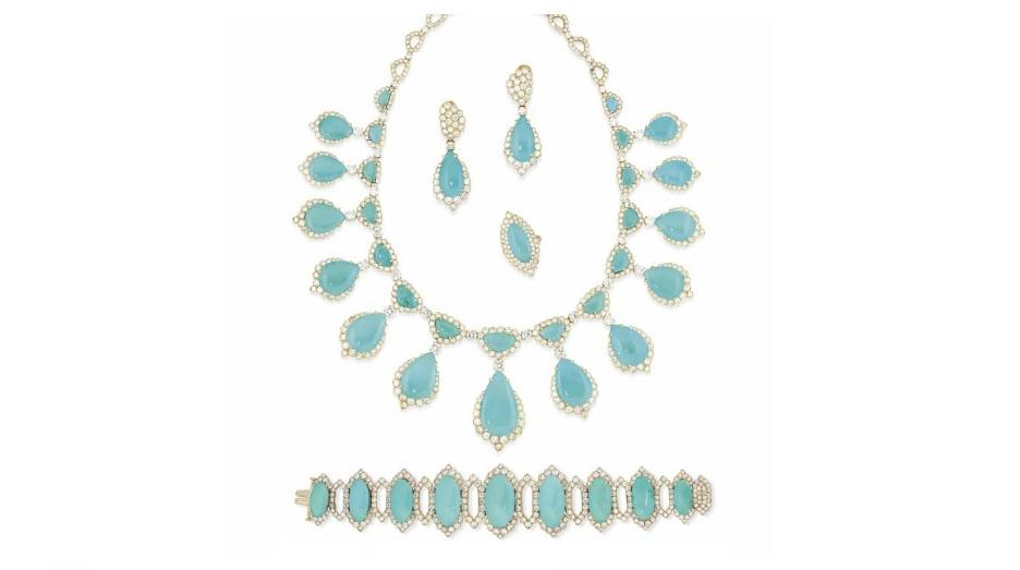 A TURQUOISE AND DIAMOND SUITE Estimate GBP 25,000 - GBP 30,000 (USD 31,700 - USD 38,040)