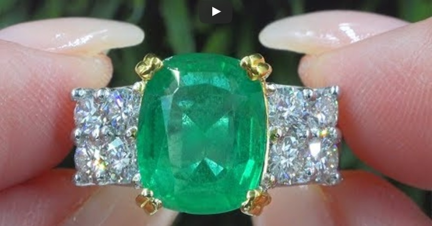 GIA Certified 5.86 tcw Natural Green Emerald Diamond Solid Platinum Estate Ring