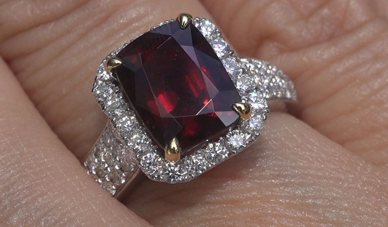 GIA UNHEATED Natural VVS Red Spinel Diamond 14k Gold Estate Ring 4.87 CWT