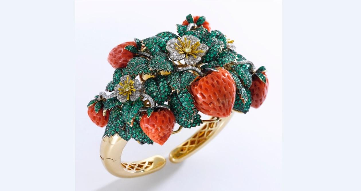 Coral, emerald, enamel and diamond bangle, 'Fragole', Michele della Valle