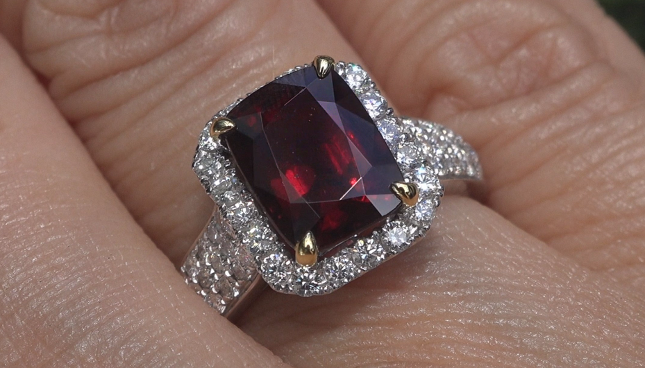 GIA UNHEATED Natural Red Spinel Diamond 14k Gold Ring VVS Estate GEM 4.87 CWT