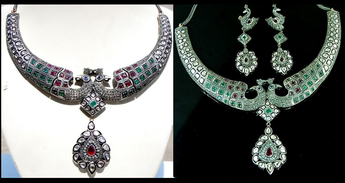 Emerald Ruby blue Sapphire and sparkling Diamond 14kt Peacock Victorian necklace earrings set