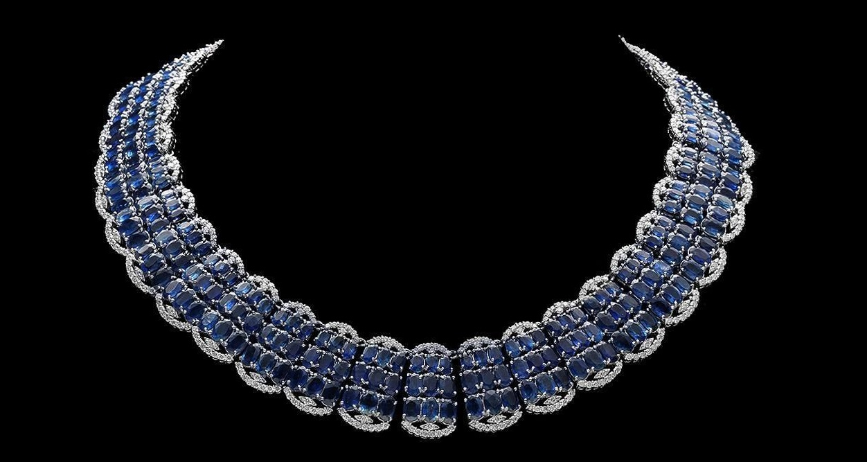 14K WHITE GOLD 155.00CT SAPPHIRE 10.50CT DIAMOND NECKLACE