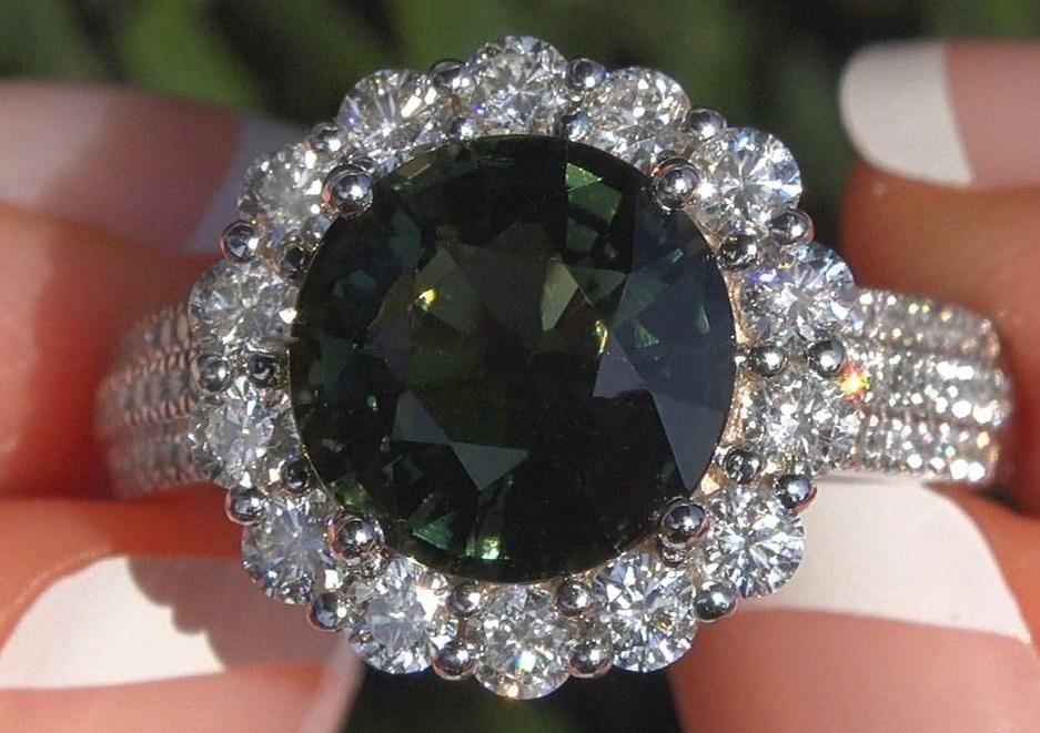 Certified 4.73 CWT Green Tourmaline Diamond Halo Ring 14k White Gold
