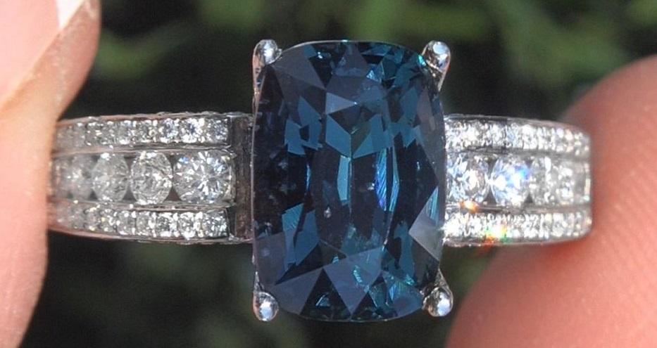 Blue Spinel Diamond 18k Gold Ring GIA Natural UNHEATED 4.19 TCW VVS Estate