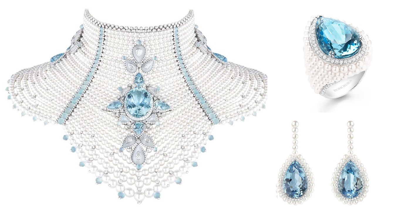 Femmes Boréales harks back to the traditional dress and imperial jewelry sets lavishly embellished with pearls, diamonds and precious stones, that have been given modern flair for contemporary queens.