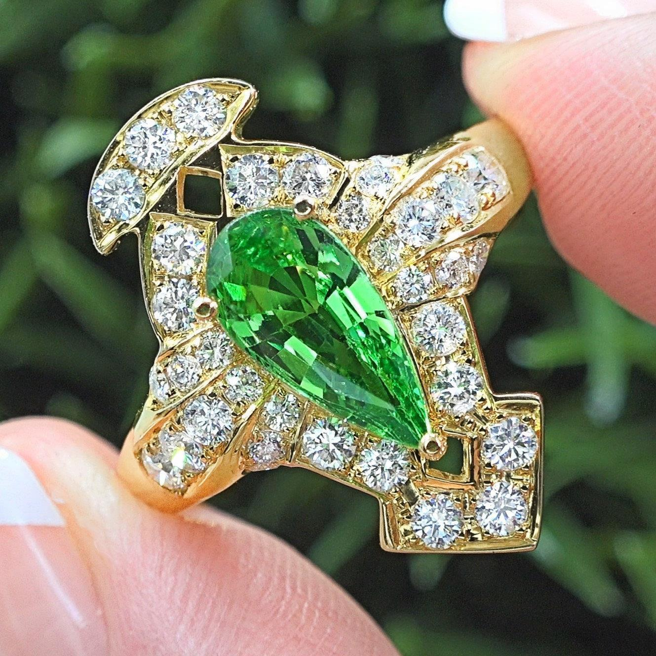 Tsavorite Garnet Diamond 18k Gold Ring 3.08 TCW GIA Certified Natural Estate Gem
