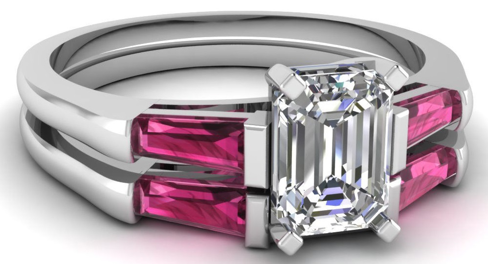 Emerald Cut Diamond & Pink Sapphire Trilogy Wedding Rings Set VVS1-D GIA