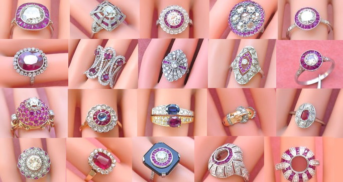 Vintage Estate Ruby and Diamond Rings