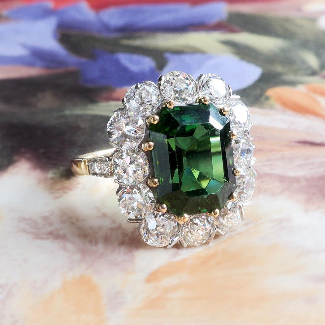 7.95ct t.w. Emerald Cut Tourmaline & Old European Diamond Halo Ring 18k Platinum