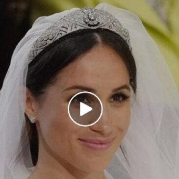 Meghan Markle Wearing Queen Mary's Diamond Bandea Tiara at the Royal Wedding