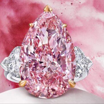 An Exquisite 12.02 Carat Pear Cut Pink Diamond Ring