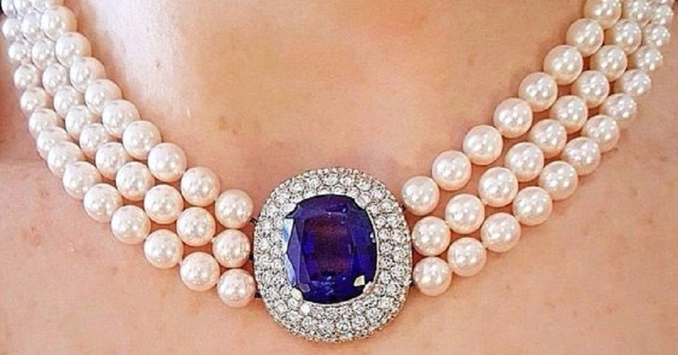 Tanzanite, Diamond and Pearl Choker Necklace in 18 Karat White Gold by Mikimoto