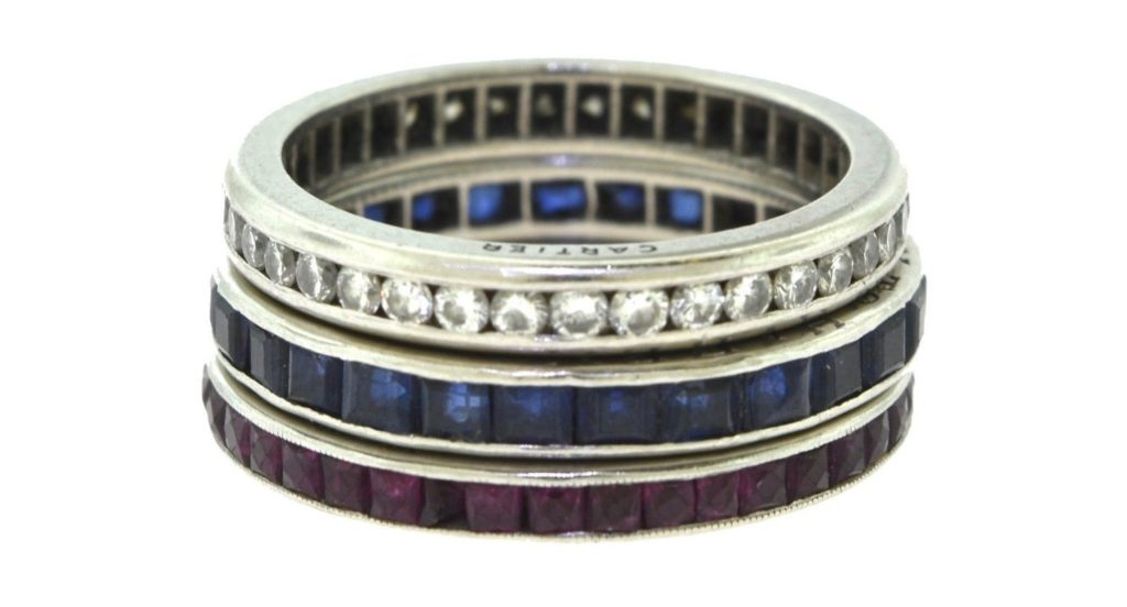 Three Estate 1950s Cartier Ruby, Diamond, and Sapphire Rings