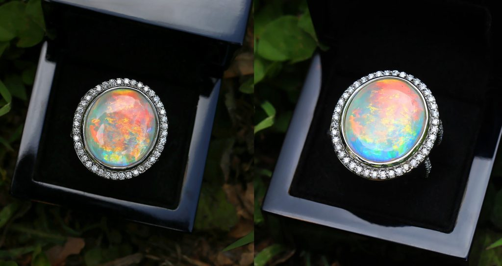 Round Australian Opal Halo Ring with Diamonds in 14Kt White Gold 14.24ctw