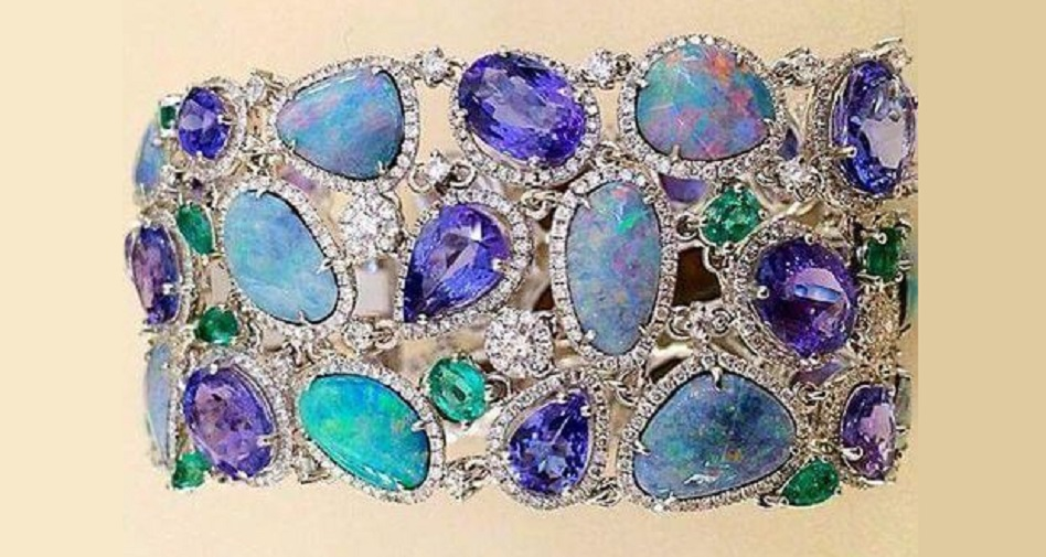 A Gorgeous Opal, Tanzanite and Diamond Bracelet
