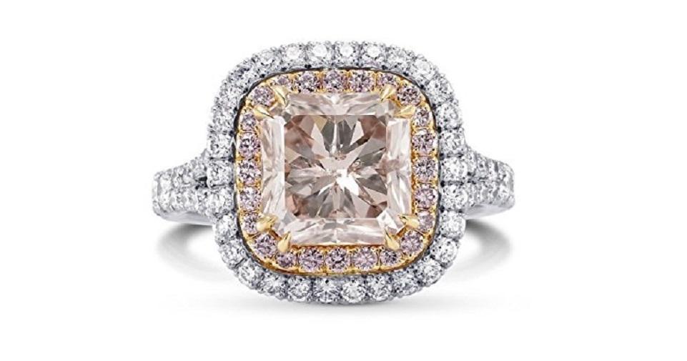 4.09Cts Pink Diamond Engagement Halo Ring Argyle Set in 18K White Rose Gold GIA