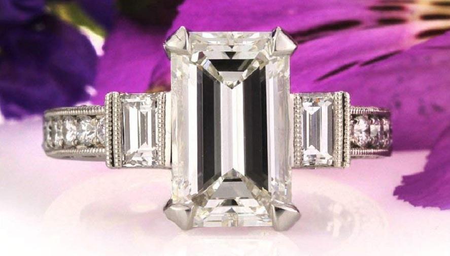 5.49ct Emerald Cut Diamond Engagement Ring