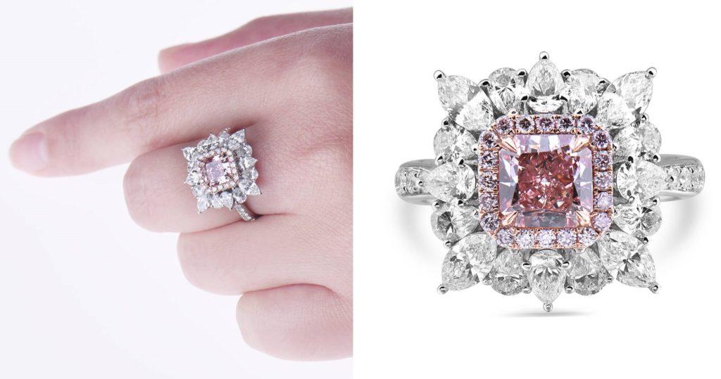 Fancy Intense Pink Diamond Ring 3.29 Ct Radiant Cut Natural 18K White Gold GIA