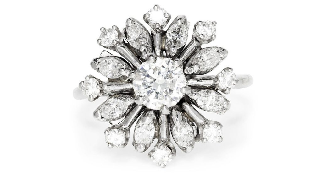 Vintage Snowflake Ring with Diamonds in 14kt White Gold 1.25ctw Cluster Top