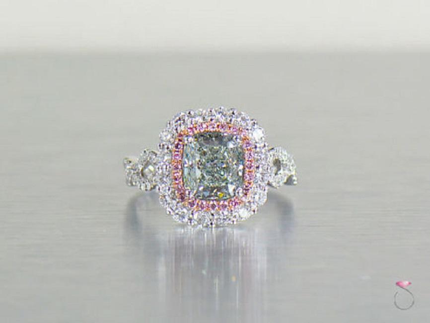 Natural Fancy Green & Pink Diamond Ring, 3.57 ctw. 18K White Gold GIA Certified
