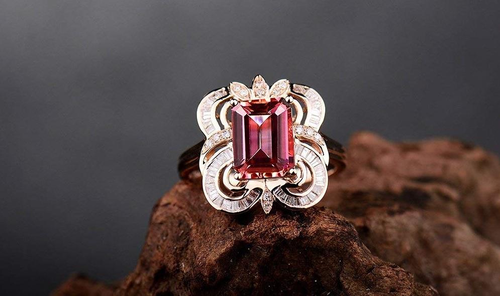 Lanmi Solid 14Kt Rose Gold Diamond Emerald Cut 7x9mm Pink Tourmaline Wedding Gemstone Ring