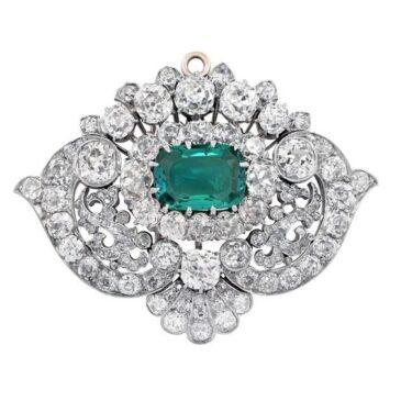 Exceptional Tiffany & Co., circa 1880 Emerald Diamond Pendant