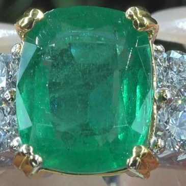 5.86 Cwt Natural Green Emerald Diamond Solid Platinum Estate Ring