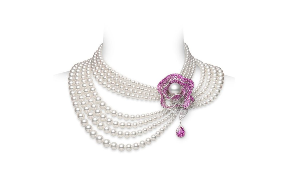 Pink  Sapphire and Pearl Necklace/Brooch by Mikimoto