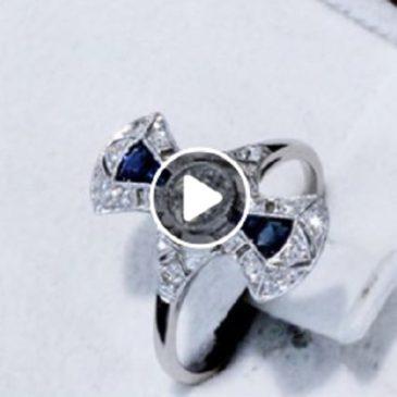 0.23ct Sapphire and 0.48ct Diamond, Platinum Dress Ring – Art Deco – Antique Circa 1930