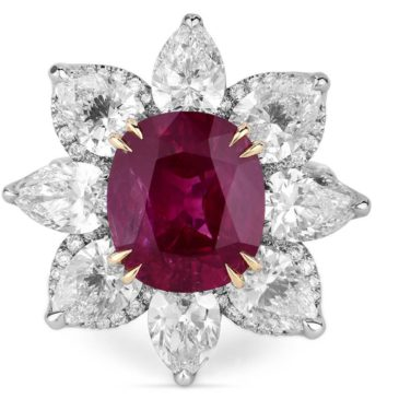 12.44 Ct Natural Unheated Red Ruby Beautiful Ring Gubelin Lab Certified 18K Gold