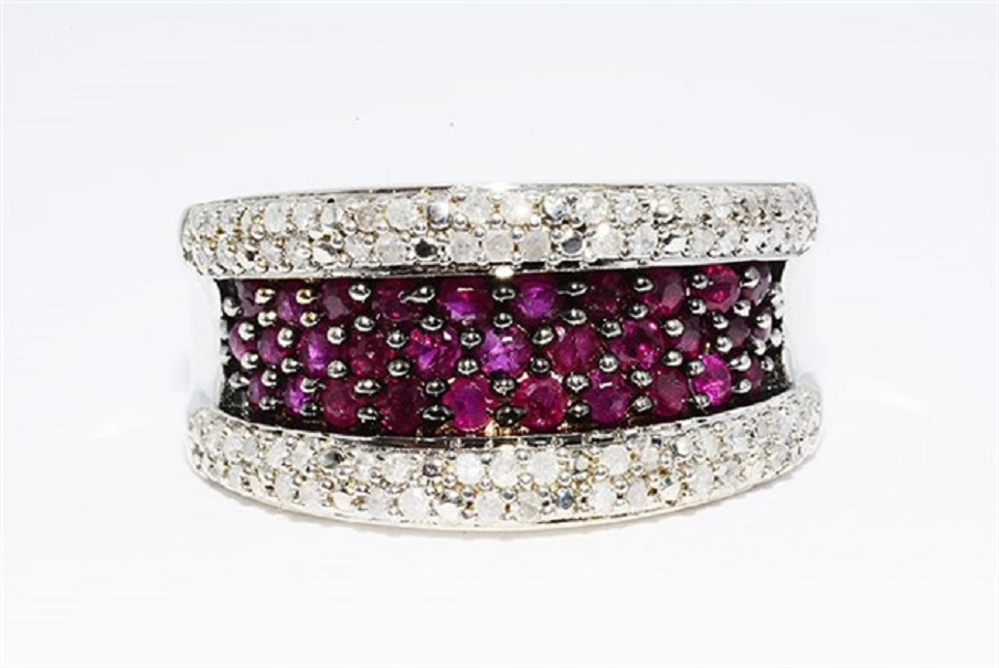 1.63CT NATURAL RUBY & DIAMOND CLUSTER SILVER RING