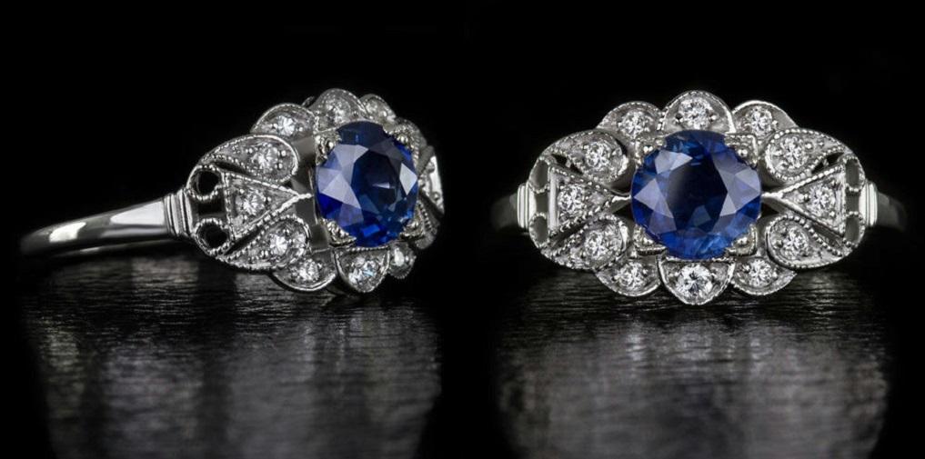 Vintage Cornflower Blue Sapphire and Diamond Art Deco Ring