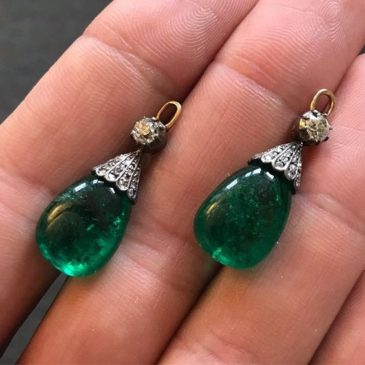 Pair of Emerald and Diamond Pendants, Late 19th Century.