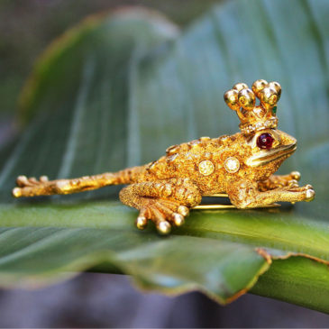 Zadora Frog Prince Brooch 18kt Gold Fancy Yellow Diamond's, Rubies & Emerald