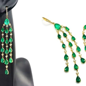 Colombian Emerald Chandelier Earrings with Diamonds 18K Yellow Gold 16.50ctw