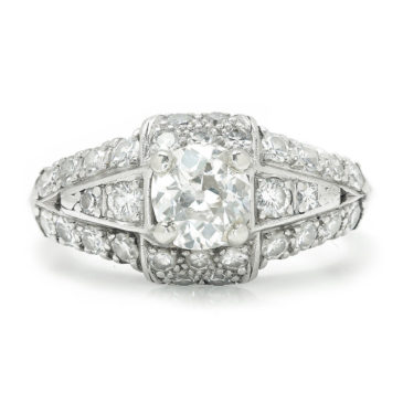 Vintage Old Mine Cut Diamond Engagement Ring with Accents Platinum 1.00 Ctw