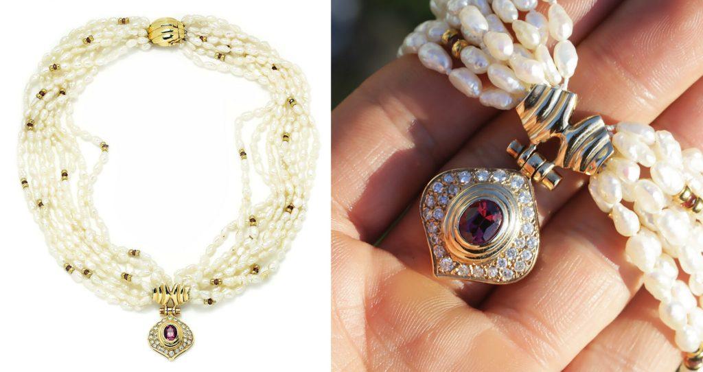 Vintage Tourmaline & Diamond Pendant Multi-Strand Pearl Necklace 14K Gold 2.00ct