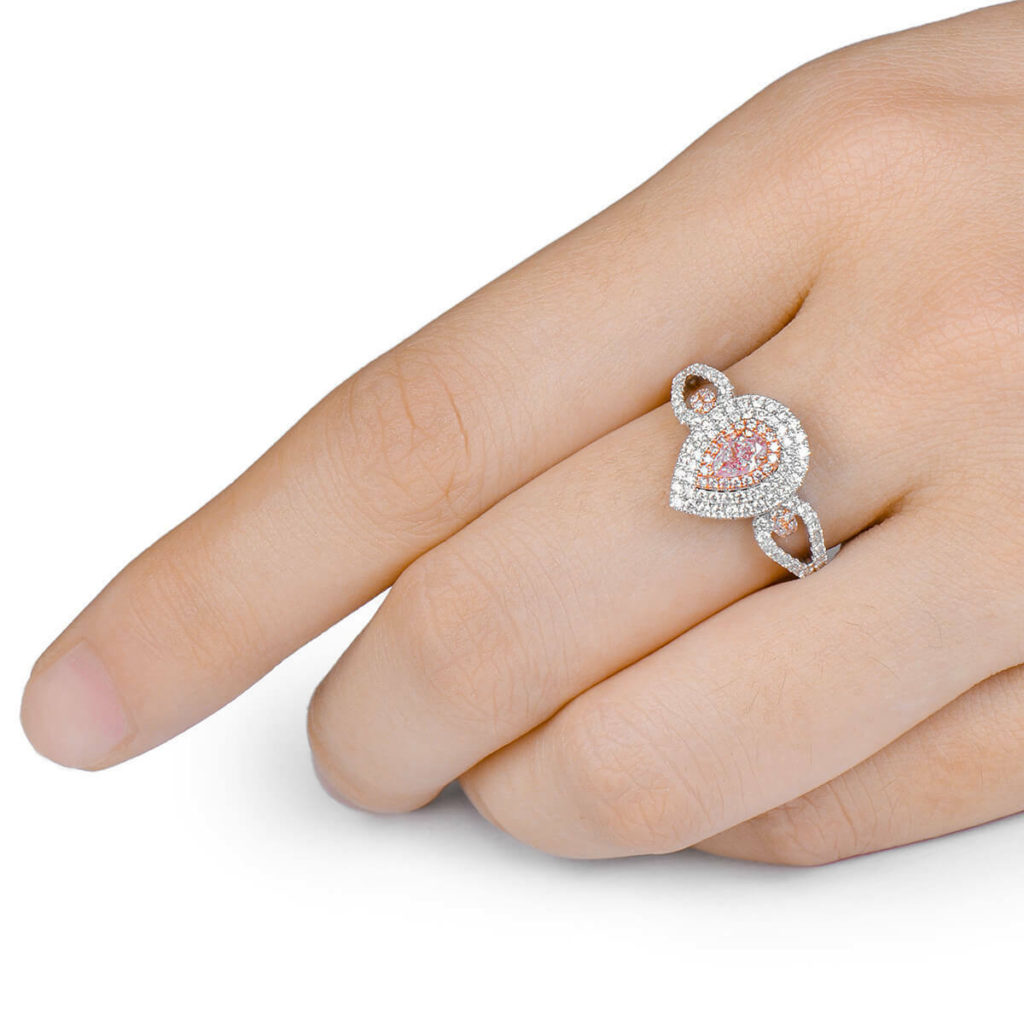 GIA Faint Pink Diamond Engagement Ring 0.75 Ct Pear Cut Natural 18K White Gold