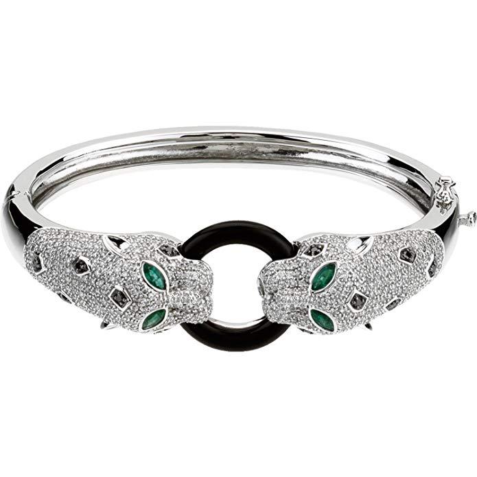 14K White Gold Emerald, Onyx & 2 1/2 CTW Diamond Cuff Bracelet