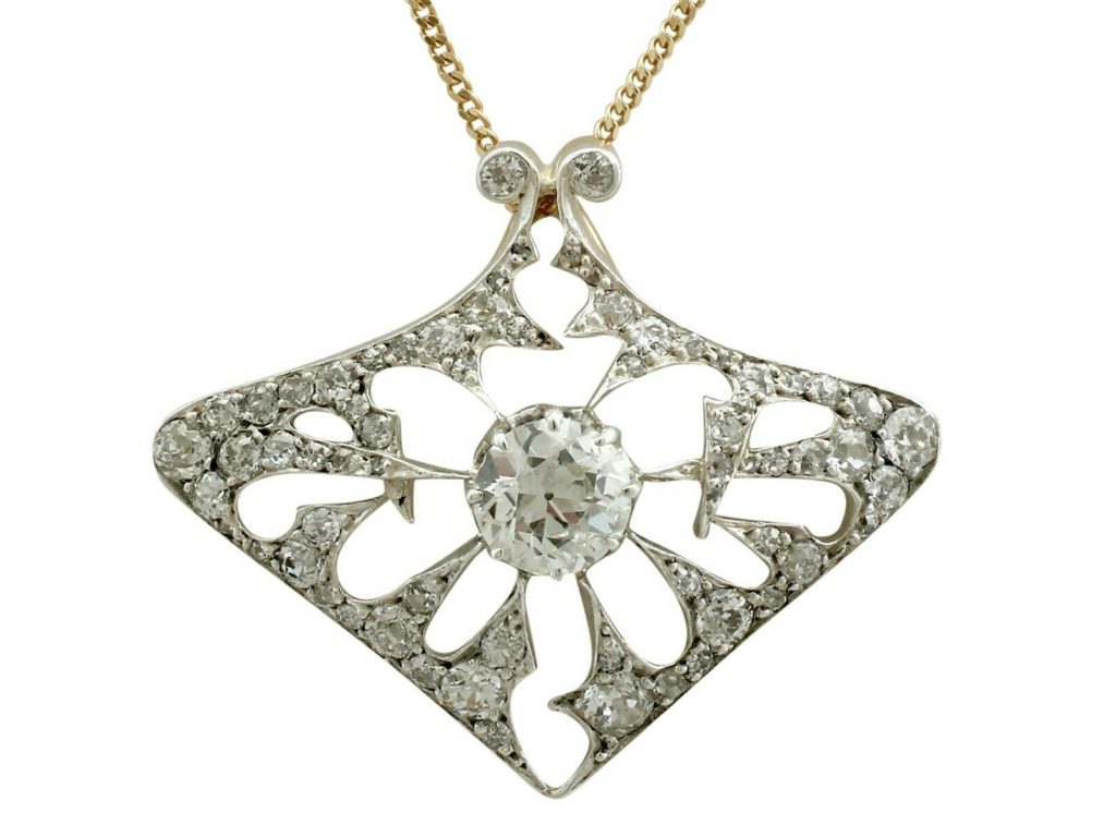 Antique French 4.21 Ct Diamond and 18k Yellow Gold Pendant Brooch Circa 1900
