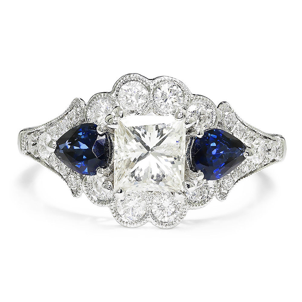 Princess Diamond 3 Stone Engagement Ring with Sapphires 18K 2.43ctw